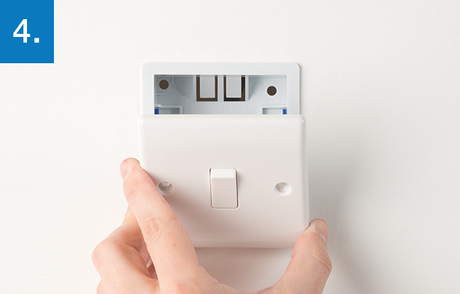 How to upgrade a light switch bg electrical accessories gently ease the socket from the mounting box to show the wiring asfbconference2016 Choice Image