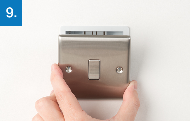 How to upgrade a light switch bg electrical accessories gently press the switch back into place over the mounting box take care not to trap any wires between the wall and the socket publicscrutiny Image collections